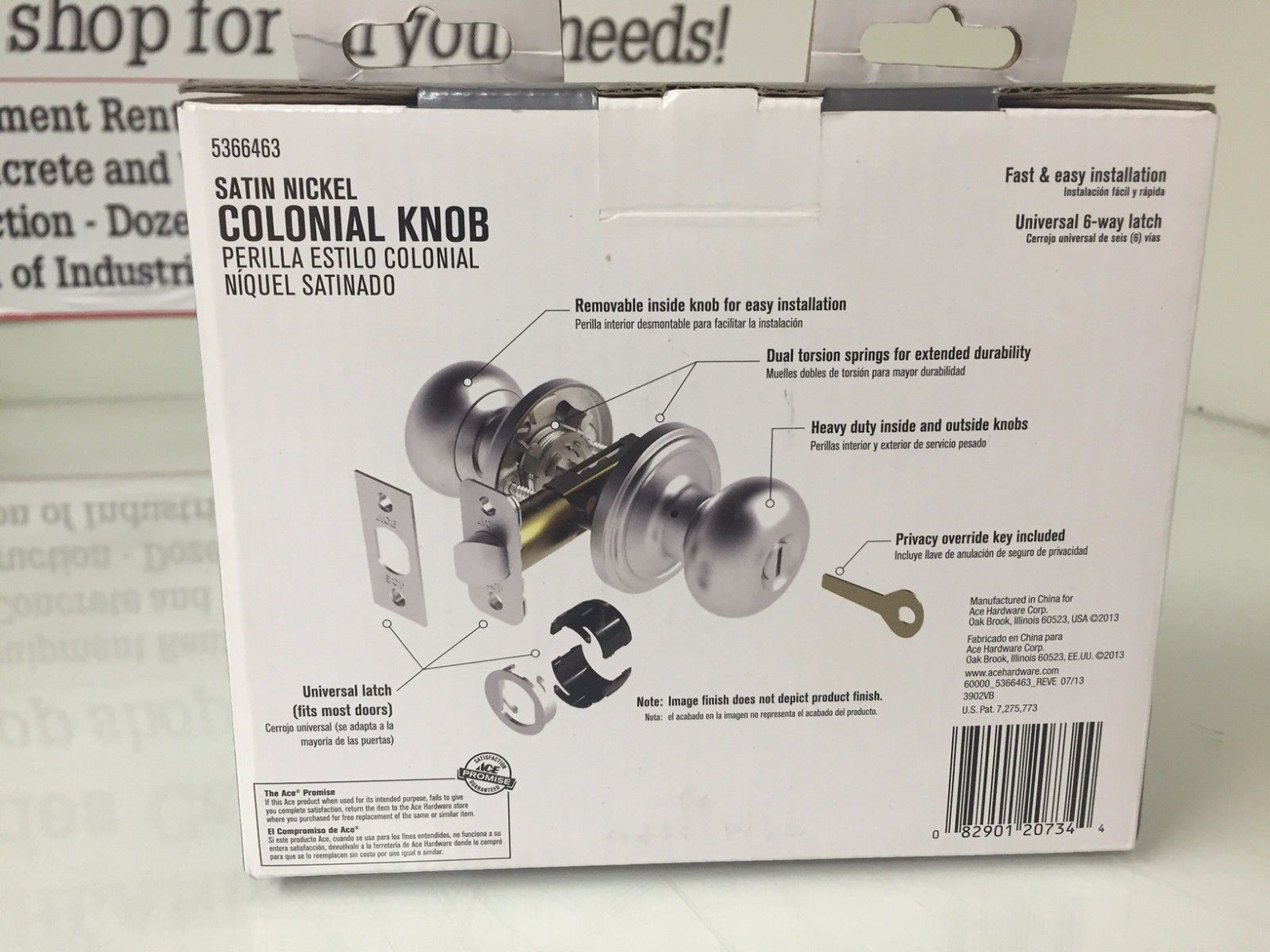 Ace Hardware Colonial Style Privacy Door Knob #5366463 Satin Nickel